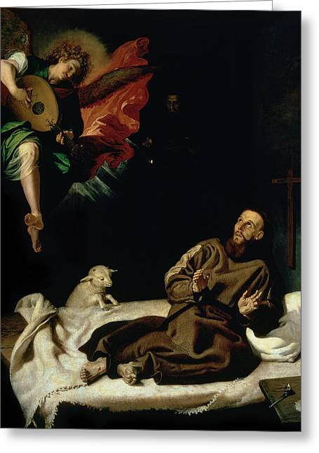 St Francis Comforted By An Angel Musician Greeting Card