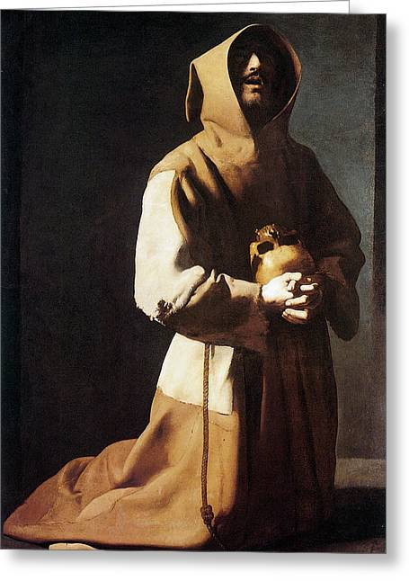 St. Francis Kneeling Greeting Card by Francisco de Zurbaran