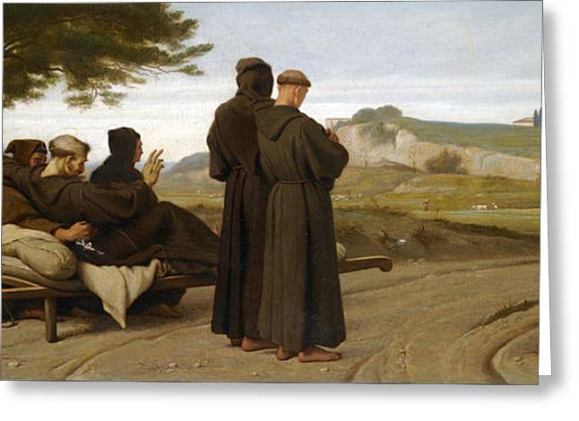 St Francis Of Assisi While Being Carried To His Final Resting Place At Saint-marie-des-anges Blesses Greeting Card by Francois-Leon Benouville