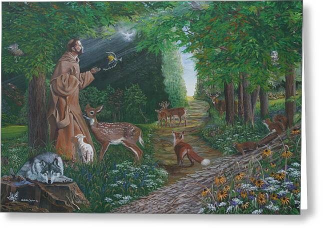 Fox Squirrel Paintings Greeting Cards - St. Francis of the Wood Greeting Card by JoAnne Castelli-Castor