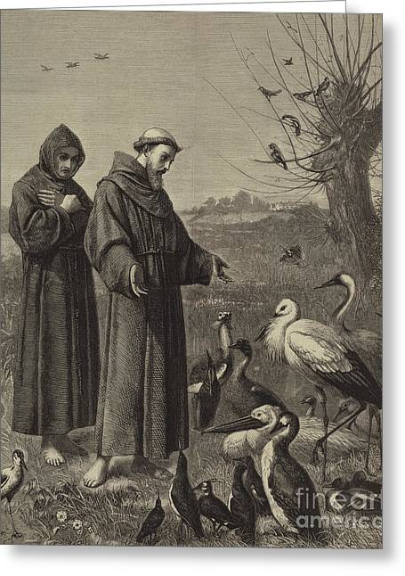 St Francis Preaches To The Birds  Greeting Card by Henry Stacey Marks