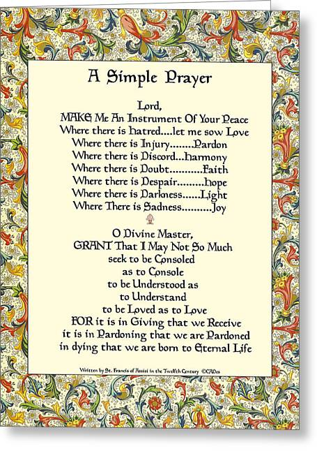 St. Francis Simple Prayer For The Pope's Visit Greeting Card