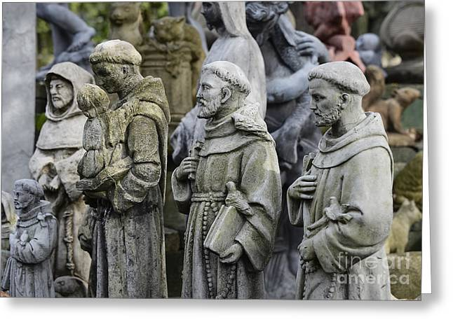 Best Sellers -  - Garden Statuary Greeting Cards - St Francis Statues Greeting Card by John Greim
