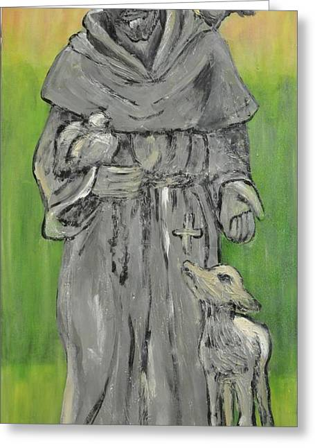 St Francis With Lamb I Greeting Card by Maria Boudreaux
