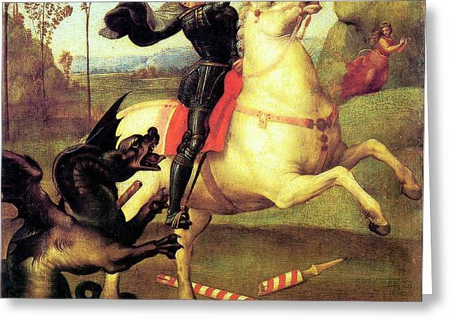 St George And The Dragon Greeting Card by Raphael