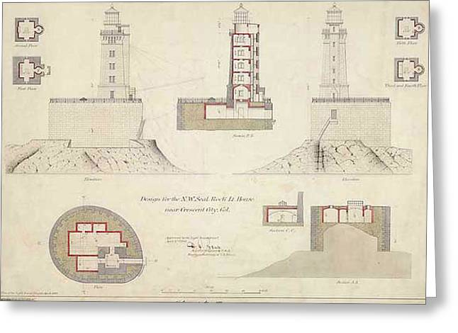 St. George Reef Lighthouse Schematics Greeting Card by ArtworkAssociates