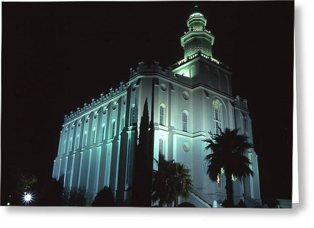 St. George Temple Greeting Cards - St. George Temple at Night 3 Greeting Card by Cynthia  Cox Cottam