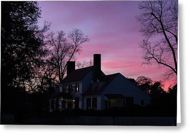 St George Tucker House At Sunset Greeting Card by Teresa Mucha
