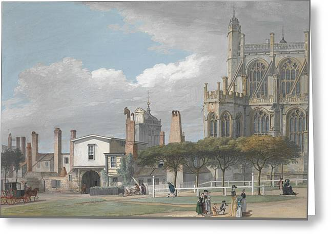 St. George's Chapel, Windsor, And The Entrance To The Singing Men's Cloister Greeting Card by Paul Sandby