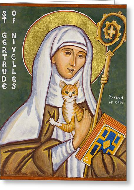 St. Gertrude Of Nivelles Icon Greeting Card