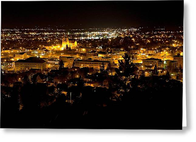 St Helena Cathedral And Helena By Night Greeting Card