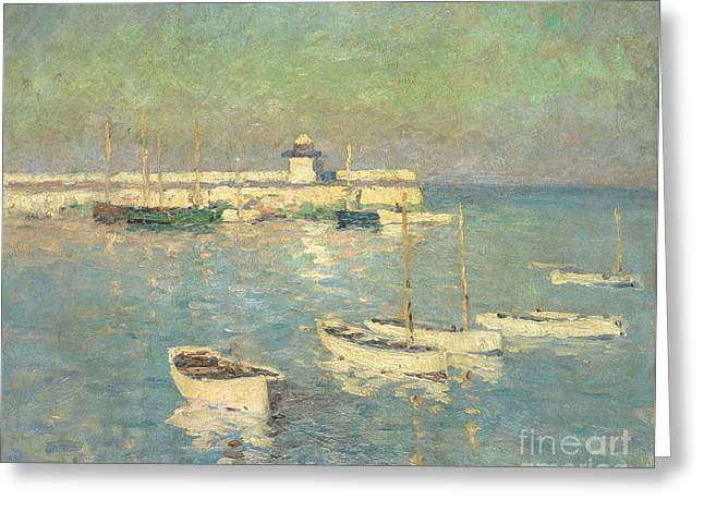 St. Ives Pier  Smeaton's Pier Greeting Card by William E Osborn