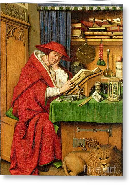 Recently Sold -  - Sit-ins Greeting Cards - St. Jerome in his Study  Greeting Card by Jan van Eyck