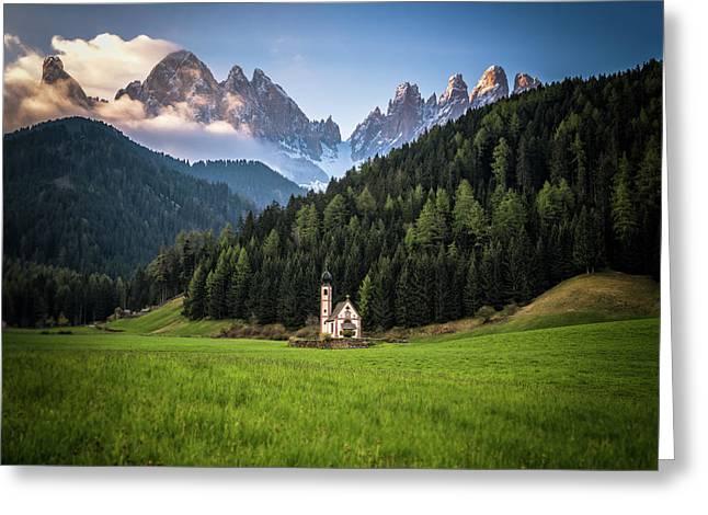 St. Johann Church In Val Di Funes Greeting Card