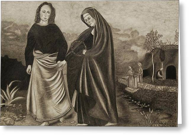 St. John And Blessed Mother At The Tomb Greeting Card