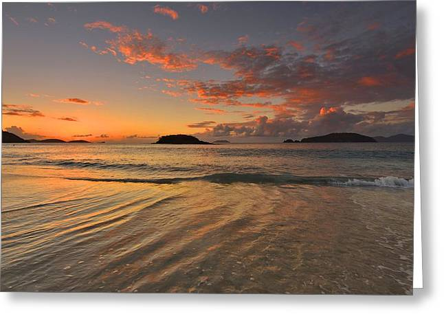 Greeting Card featuring the photograph St. John Sunset Reflections by Stephen  Vecchiotti