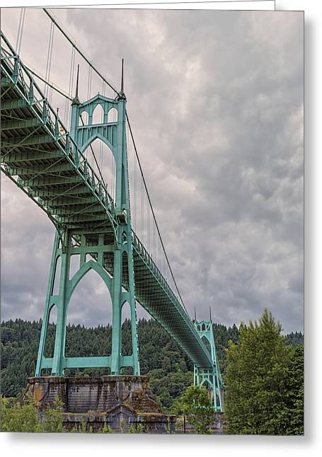 St. Johns Bridge Greeting Card by Loree Johnson