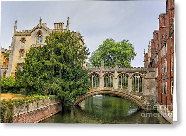 St Johns College And The Bridge Of Sighs In Cambridge University Greeting Card by Patricia Hofmeester