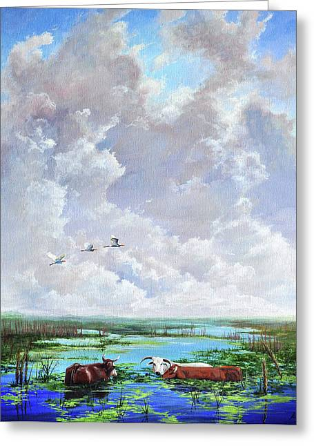 Greeting Card featuring the painting St. John's Cows by AnnaJo Vahle