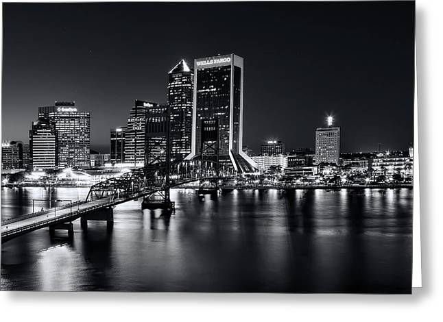 St Johns River Skyline By Night, Jacksonville, Florida In Black And White Greeting Card