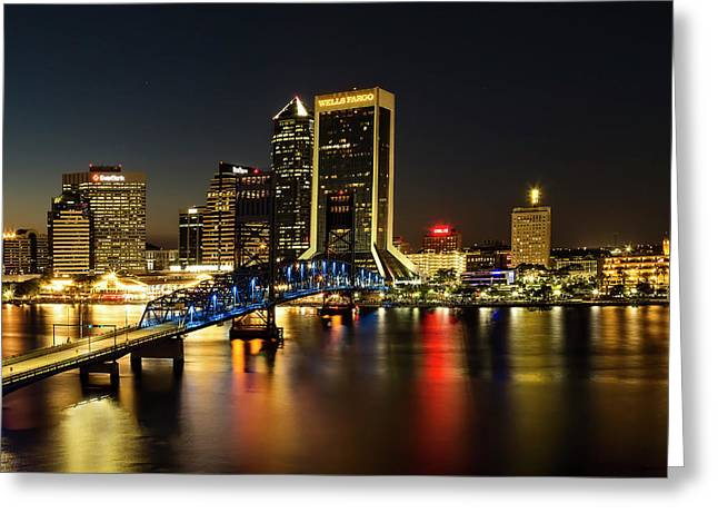 St Johns River Skyline By Night, Jacksonville, Florida Greeting Card