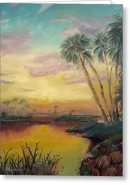 Greeting Card featuring the painting St. Johns Sunset by Dawn Harrell