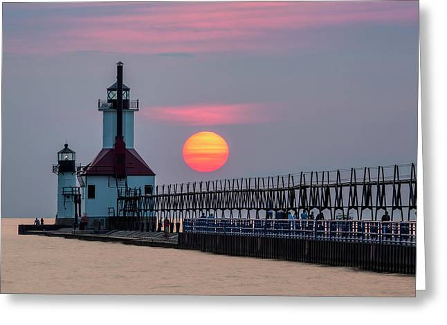 Greeting Card featuring the photograph St. Joseph Lighthouse At Sunset by Adam Romanowicz
