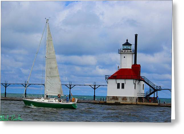 St. Joseph Lighthouse Sailboat Greeting Card