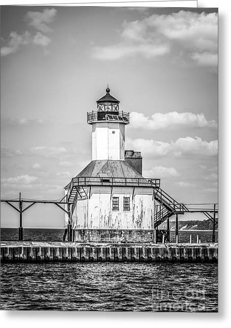 St. Joseph Michigan Lighthouse In Black And White Greeting Card by Paul Velgos
