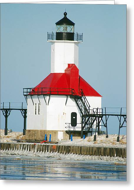 St Joseph North Pier Lights Greeting Card by Michael Peychich