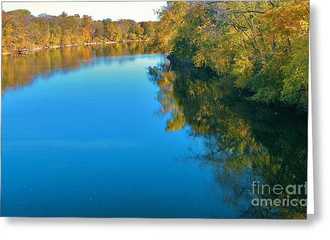 St. Joseph River View In Autumn     Indiana Greeting Card by Rory Cubel