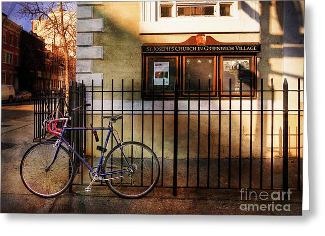St. Joseph's Church Bicycle Greeting Card by Craig J Satterlee