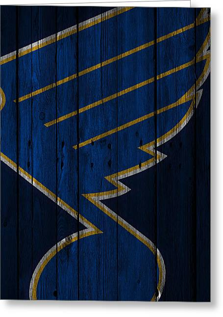 St Louis Blues Wood Fence Greeting Card by Joe Hamilton
