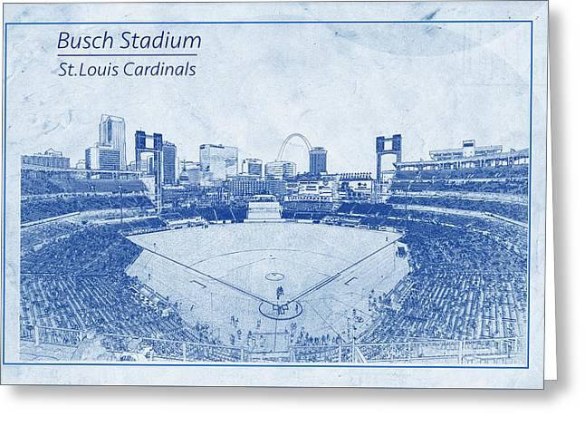 St. Louis Cardinals Busch Stadium Blueprint Names Greeting Card by David Haskett