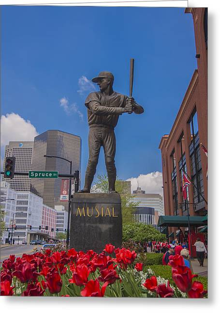 St. Louis Cardinals Busch Stadium Stan Musial Roses Greeting Card by David Haskett