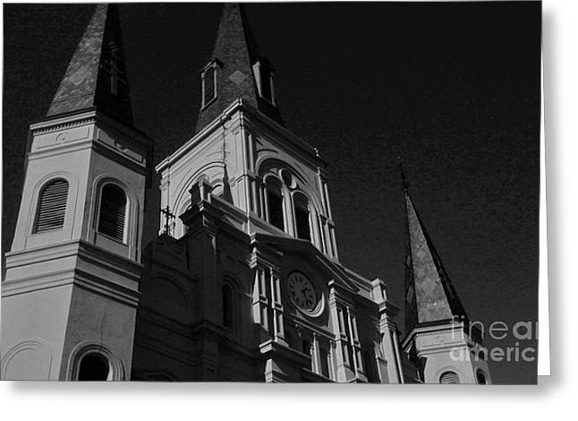 St. Louis Cathedral In Black And White Greeting Card by John Giardina