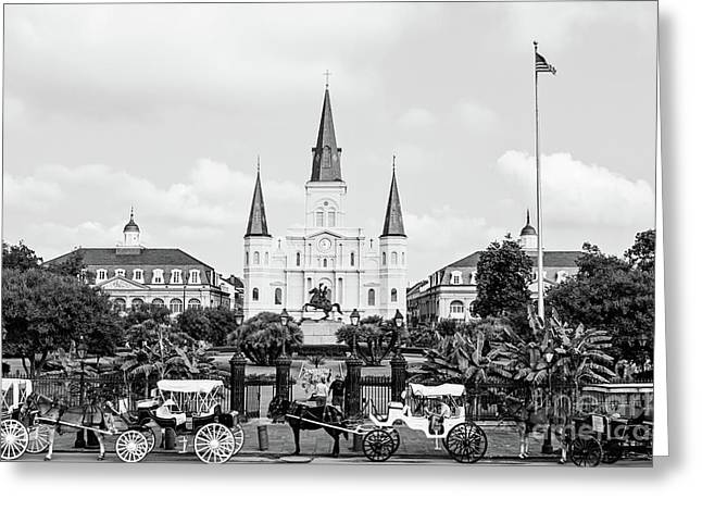 St. Louis Cathedral New Orleans - Bw Greeting Card