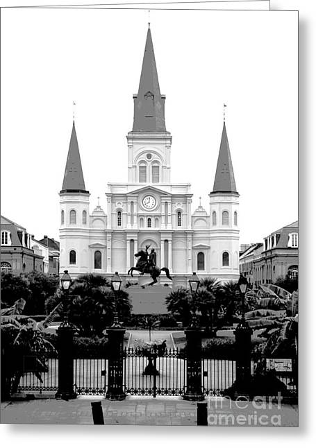 Recently Sold -  - Statue Portrait Greeting Cards - St Louis Cathedral on Jackson Square in the French Quarter New Orleans Conte Crayon Digital Art Greeting Card by Shawn O