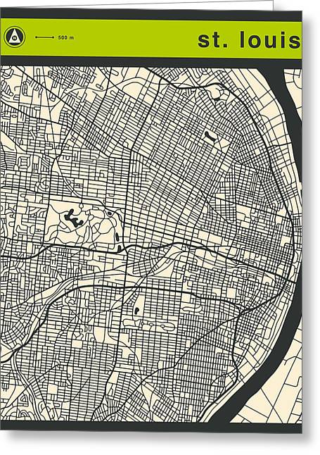 St Louis Street Map Greeting Card by Jazzberry Blue