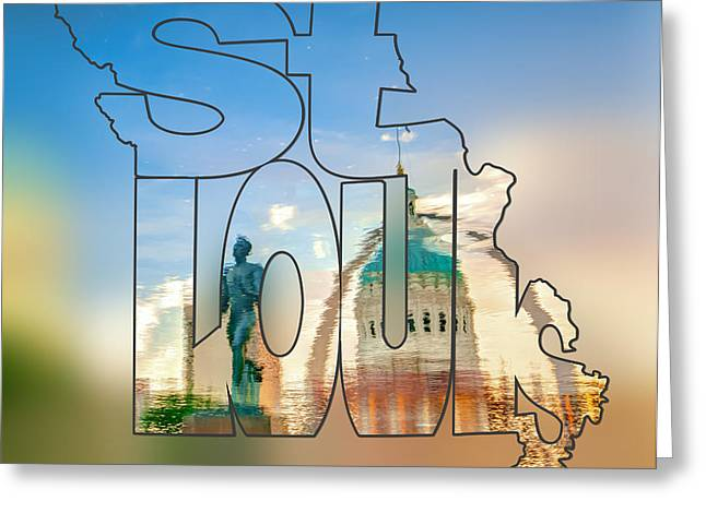 St. Louis Missouri Typography Blur Artwork - Reflecting The Lou - State Shape Series Greeting Card by Gregory Ballos