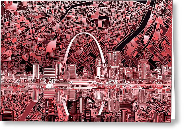 St Louis Skyline Abstract 3 Greeting Card