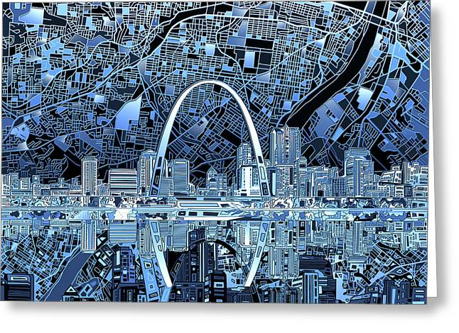 St Louis Skyline Abstract 5 Greeting Card