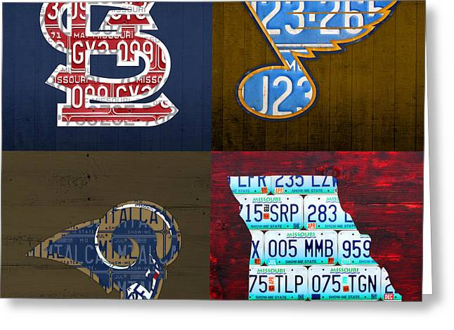 St Louis Sports Fan Recycled Vintage Missouri License Plate Art Cardinals Blues Rams Greeting Card