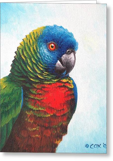 St. Lucia Parrot Greeting Card by Christopher Cox