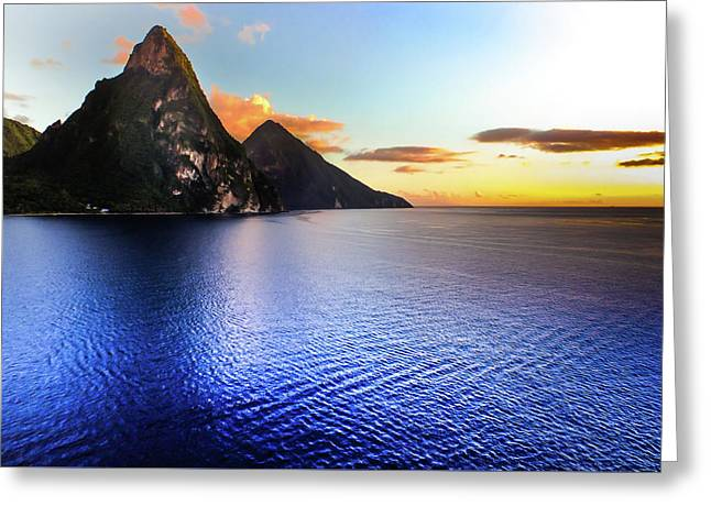 Greeting Card featuring the photograph St. Lucia's Cobalt Blues by Karen Wiles