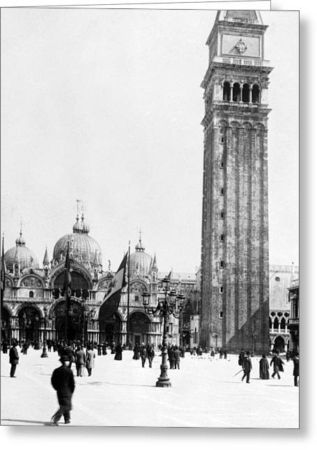Campanile Di San Marco Greeting Cards - St Marks Campanile in Venice - Italy - c 1902 Greeting Card by International  Images