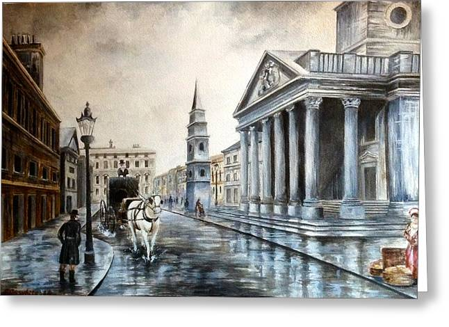 St Martins London Greeting Card by Art By Three Sarah Rebekah Rachel White
