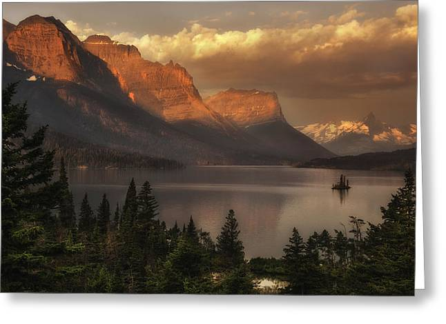 St Mary Lake Sunrise From Wild Goose Island Overlook Greeting Card by Thomas Schoeller