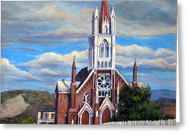 Greeting Card featuring the painting St. Mary Of The Mountains by Donna Tucker