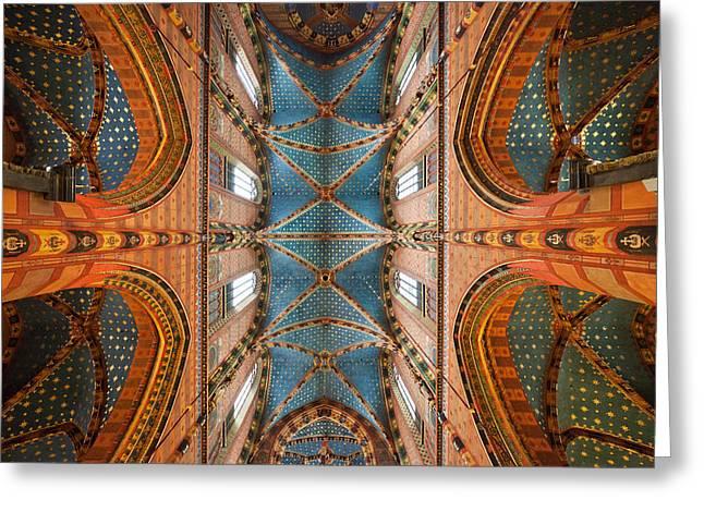 St. Mary's Basilica Cross Ribbed Vault In Krakow Greeting Card by Artur Bogacki